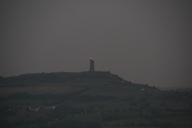 Victoria Tower by night, from Crosland Moor Airfield