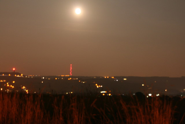 Emley Moor Mast and Victoria Tower and the moon from Crosland Moor Airfield