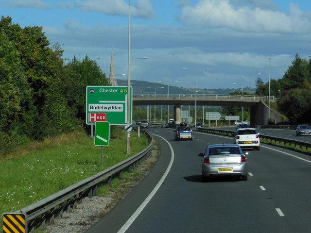 A55 North Wales Expressway at junction  25