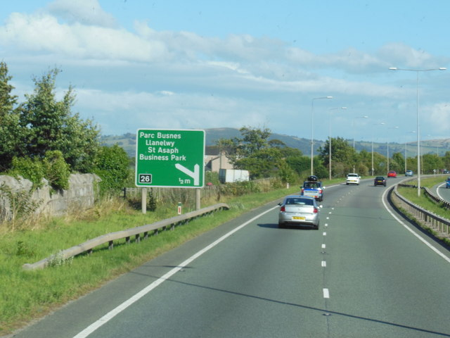 A55 North Wales Expressway at junction  26