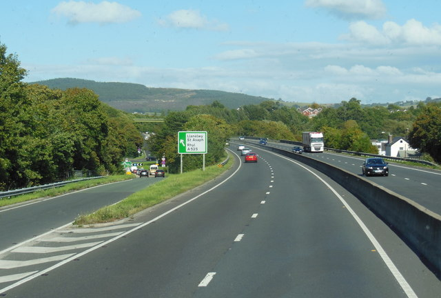 A55 North Wales Expressway at junction  27