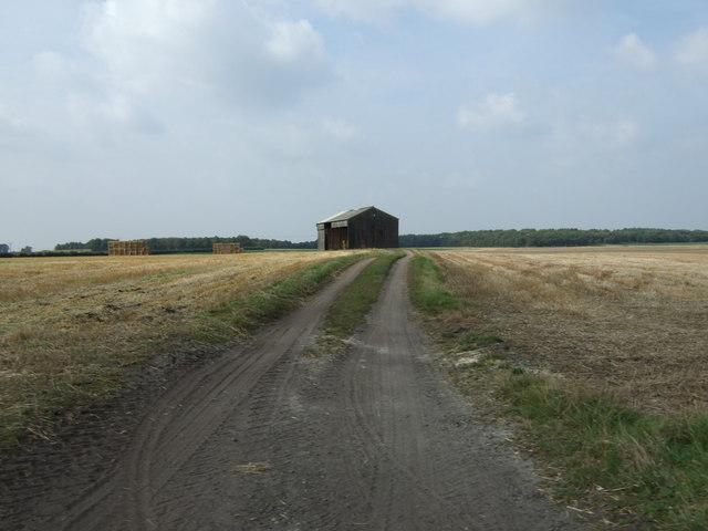 Track towards barn