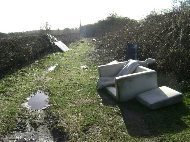 Flytipping off Coventry Road near Warwick