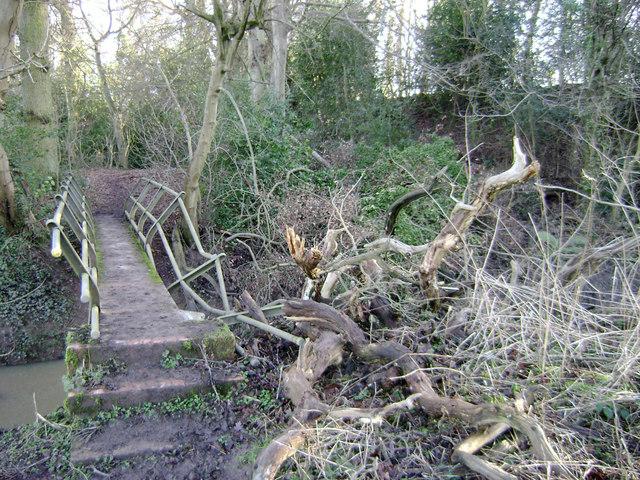 Footbridge balustrade damaged by a falling tree below Hill Wootton near Warwick