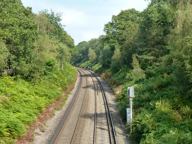 Railway east of Longcross Bridge