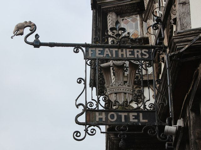 The Feathers Hotel sign