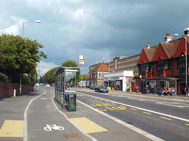 Cycle lane and bus stop, Lewes Road, Brighton