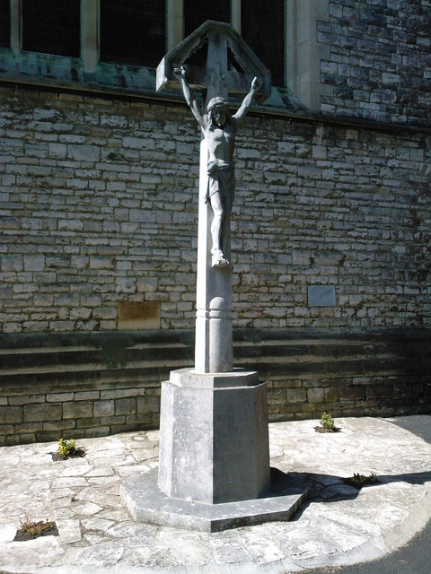 Crucifix outside St Swithun's Church, Bournemouth