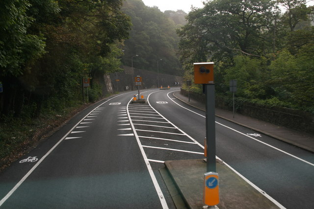 Speed cameras on the A616 approaching Honley