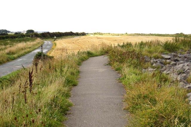 The Lancashire Coastal Way near Fluke Hall