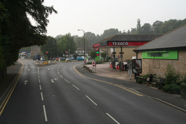 A616 and A6024 fork by the petrol station, Honley