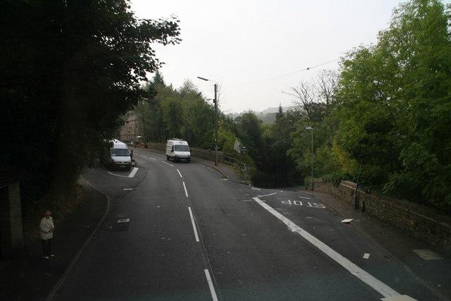A616 turn-off to Mytholm Bridge and Thongsbridge