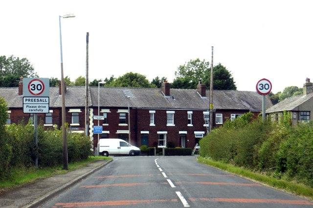 Lancaster Road enters Preesall