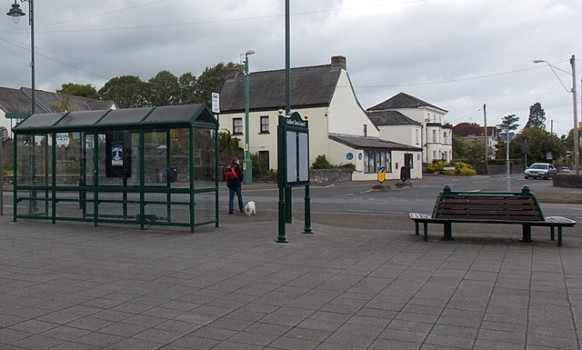 Town centre bus shelter, information board and benches in Caldicot