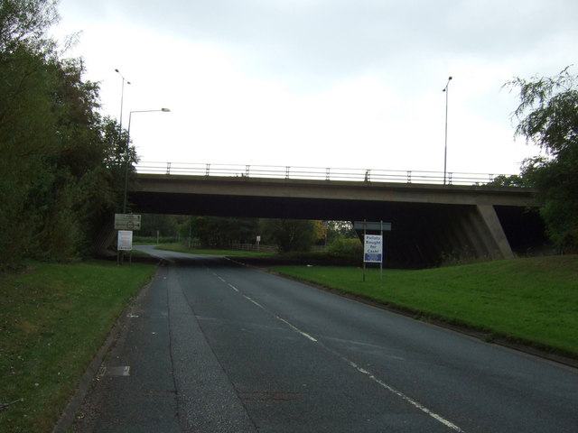 M58 motorway over Whitelodge Farm