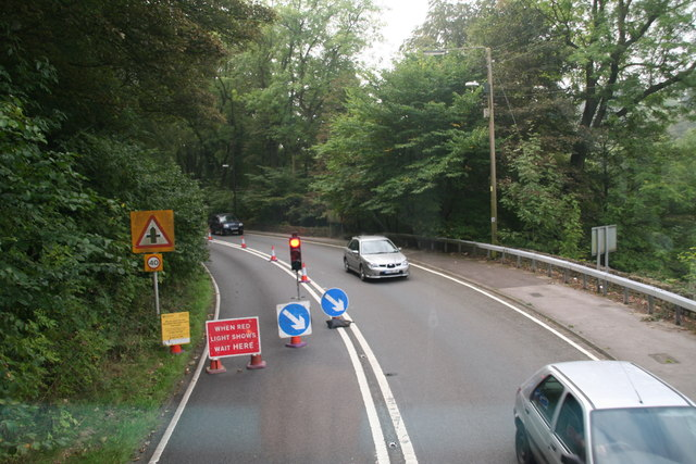 Roadworks on the A616 between Thongsbridge and New Mill