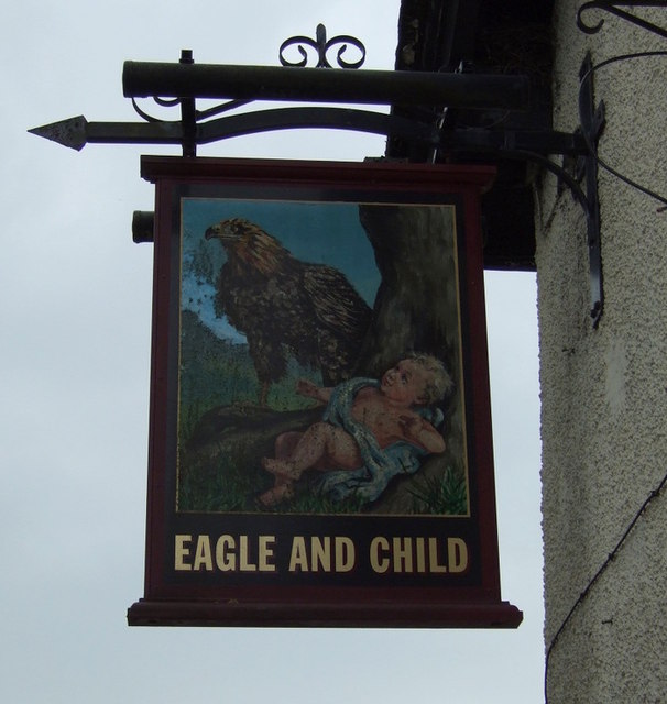Sign for the Eagle and Child pub, Rainford
