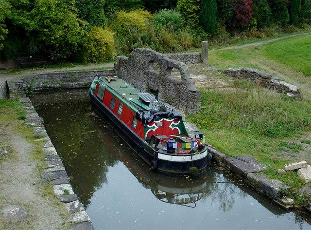 Narrowboat in Bugsworth Basin near Whaley Bridge, Derbyshire