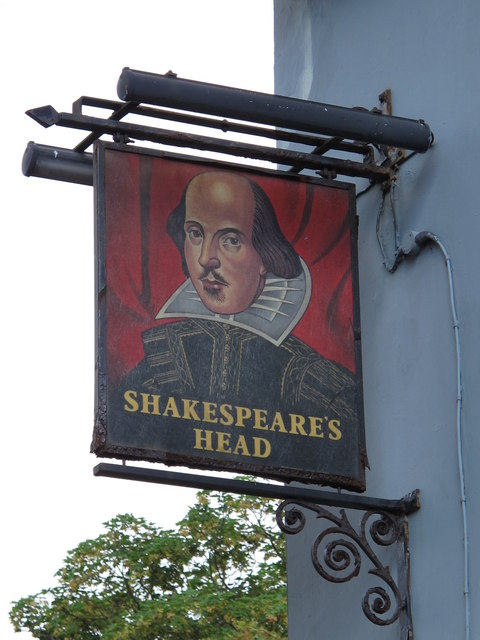 Sign for The Shakespeare's Head, Chatham Place / Howard Place, BN1