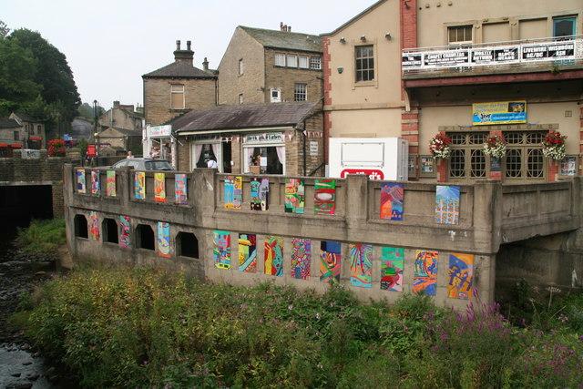 Artwork by junior school children next to the River Holme in Homfirth