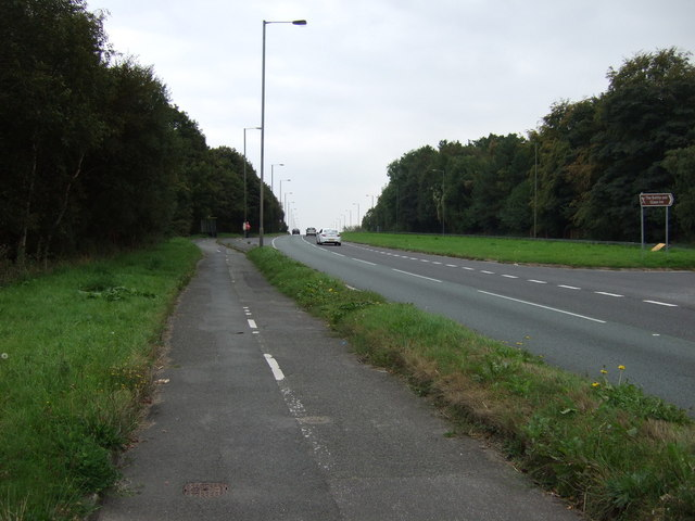 Cycle path beside the A570, Rainford by-pass
