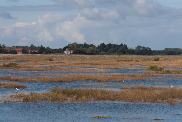 Thornham, across the flooded saltmarsh