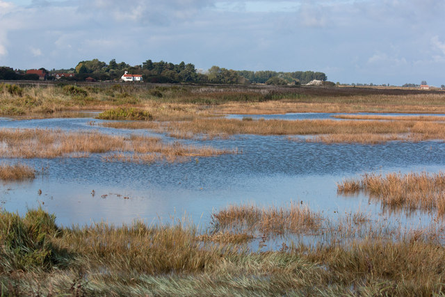 Across the flooded saltmarsh