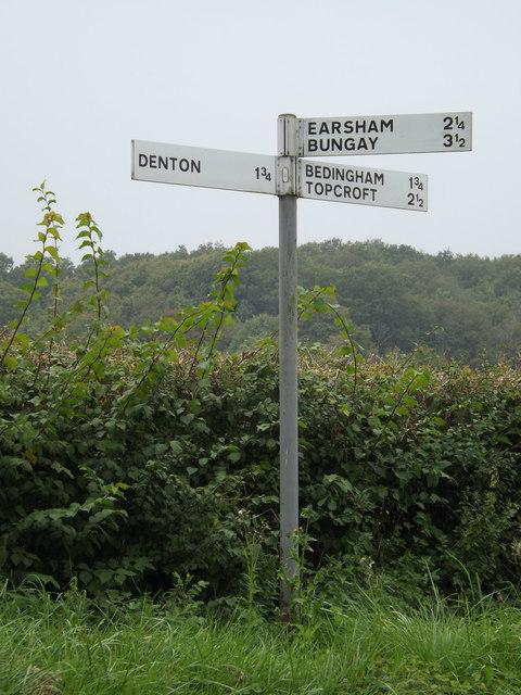 Roadsign on Norwich Road