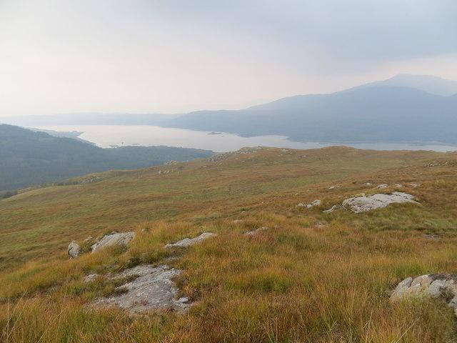 Moorland above Glen Laudale looking down to Loch Sunart
