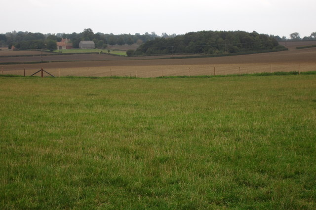 Farmland by the A428 with Sandpit Spinney beyond