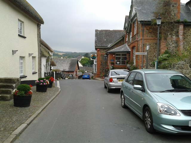 Outside the Post Office in Dunsford, looking west