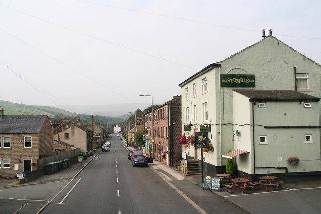 Stumble Inn and Woodhead Road through Hinchliffe