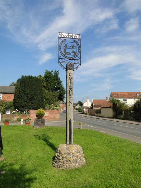 Village sign for Knodishall and Coldfair