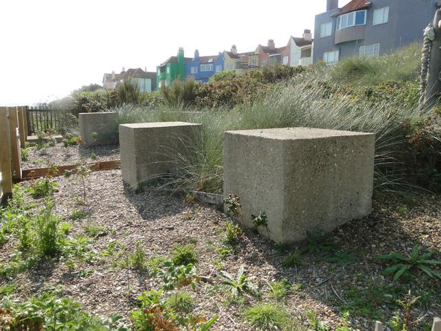 Anti-tank blocks as a garden feature