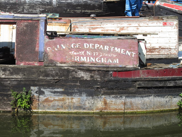 "Name panel of narrowboat ""Salvage Department Birmingham No 17"" at Bates Boatyard"