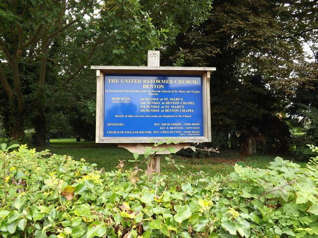 Denton United Reformed Church sign