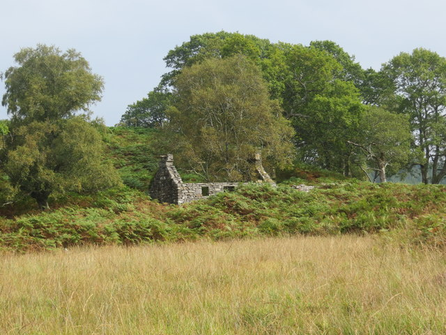 Ruined cottage of Torran at the edge of Claish Moss