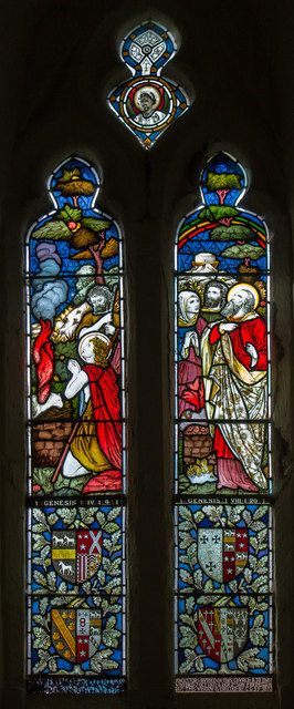 Stained glass window, St Mary's church, South Kelsey