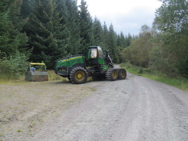 Tree felling machine on a forest road in Glen Duror