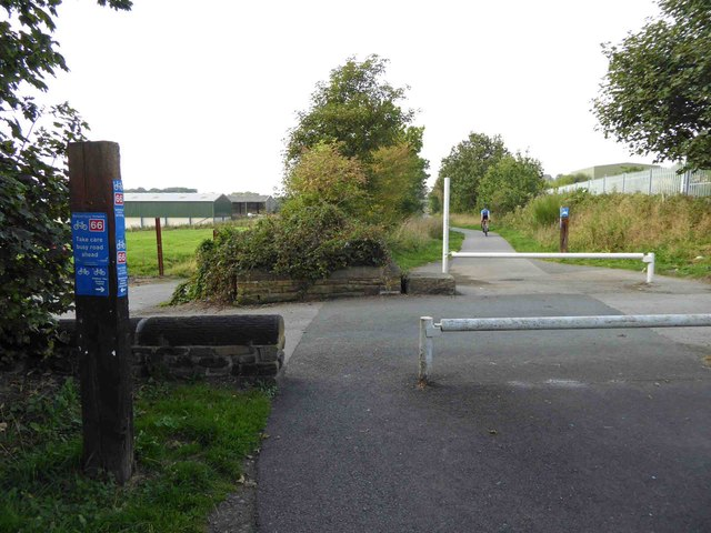 Sustrans route 66 Spen Valley Greenway crosses road