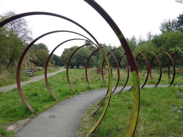 Steel hoops artwork on Sustrans route 66