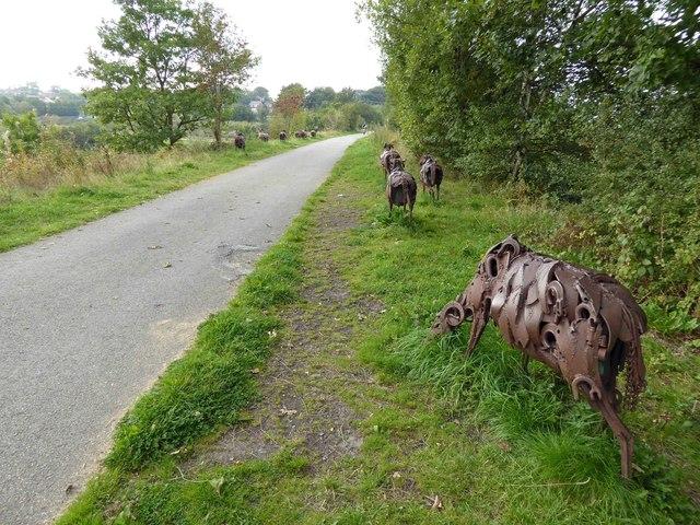 Cast iron flock of sheep on NCN 66