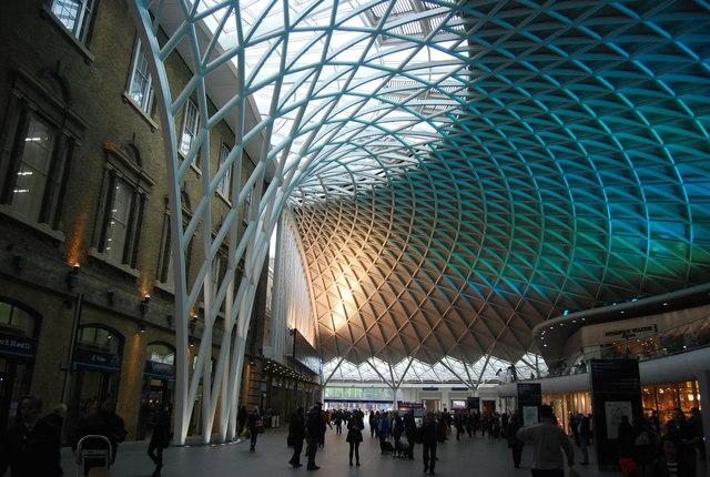 Turquoise lighting, King's Cross Station