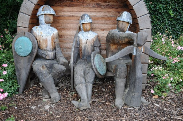 Carved wooden medieval soldiers