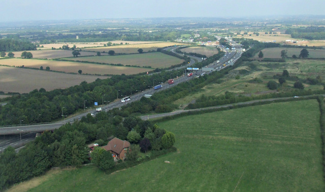 The M1 motorway from the air