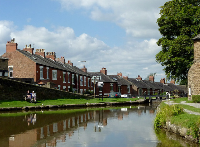Canal and terraced housing at Marple Junction, Stockport