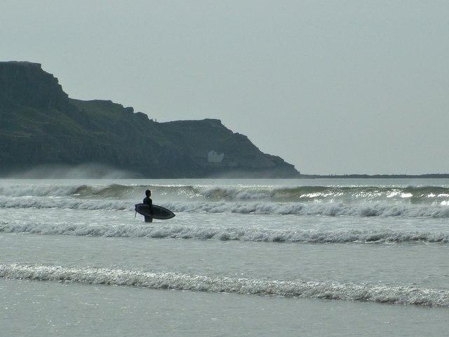 Rhossili Beach surfer