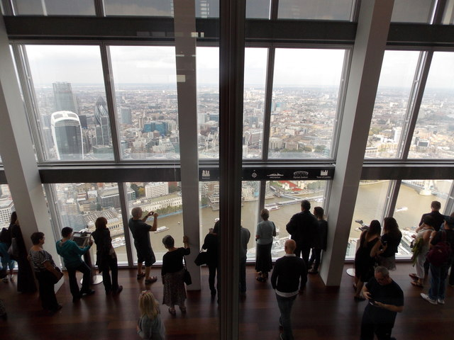 London: Shard visitors look over the City