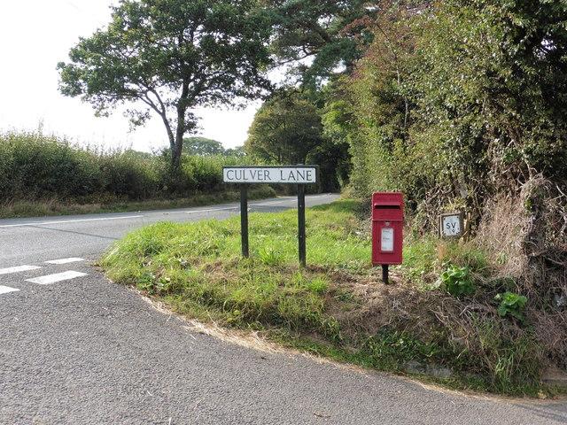 Postbox where Culver Lane meets the A385