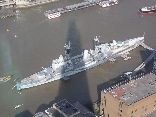 London: the Shard's shadow and HMS Belfast